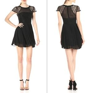 BCBGeneration Pleated Dress with Lace Contrast